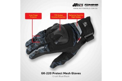 Komine GK-220 Protect Mesh Glove Black Red