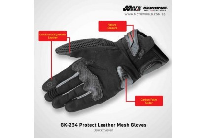 Komine GK-234 Protect Leather Mesh Gloves Black Silver