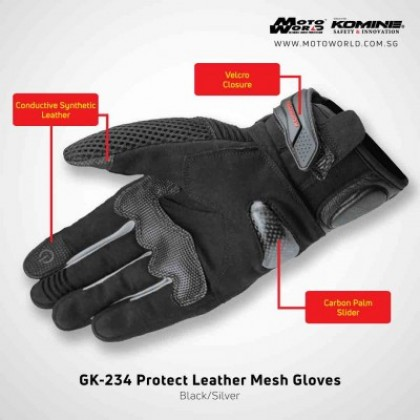 Komine GK-234 Protect Leather Mesh Gloves Black Silver