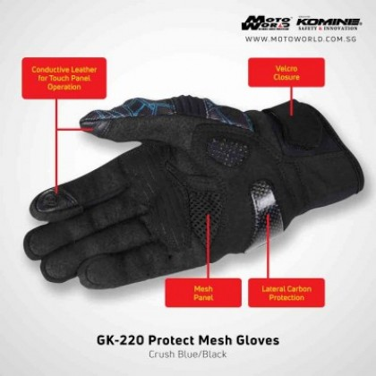 Komine GK-220 Protect Mesh Glove Camo Blue