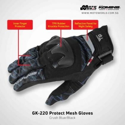 Komine GK-220 Protect Mesh Glove Plaid Black