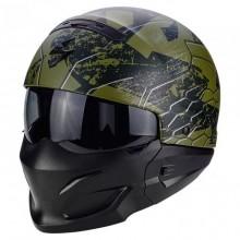 Scorpion Exo Combat (Green Black) Open Face Helmet