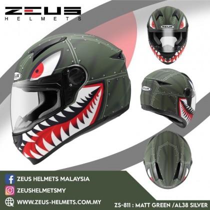 ZEUS ZS- 811 MATTE GREEN AL38 GREY