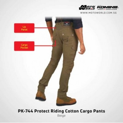 Komine PK-744 Protective Riding Cotton Cargo Pants (Beige)