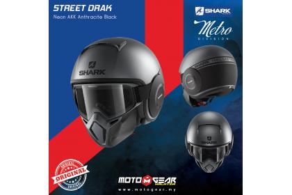 cc2275cb Shark Street Drak Neon AKK Anthracite Black Open Face Helmet