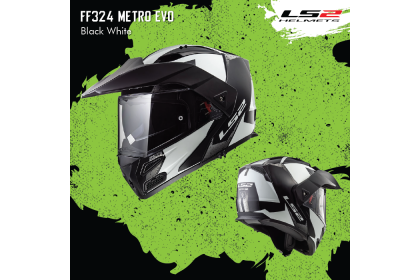 LS2 FF324 Metro Evo Sub Black White Flip-Up Helmet