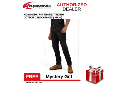 KOMINE PK-744 PROTECT RIDING COTTON CARGO PANTS BLACK MAN