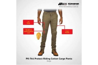 KOMINE PK-744 PROTECT RIDING COTTON CARGO PANTS BLACK MAN