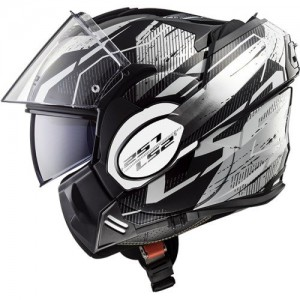 LS2 FF399 Robot Black White Chrome